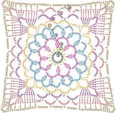 Almohadón con granny squares y tiras enrejadas #tejido a crochet