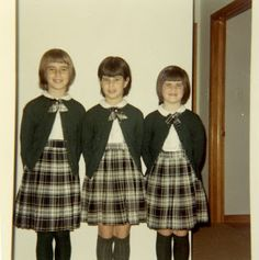 Every Catholic schoolgirl's outfit - our school's were gray and red plaid (with thin navy and yellow stripes) and red bow ties.