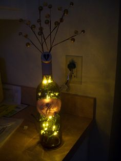 Use a diamond drill bit to drill a hole in the back of an old wine bottle, stick a spray in the top, and string lights through it. Voila! Cheap lamp!