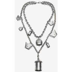 Alexander McQueen Double Chain Necklace (22.958.540 VND) ❤ liked on Polyvore featuring jewelry, necklaces, silver, floral jewelry, chains jewelry, chain necklaces, engraved necklaces and engraved jewelry