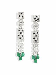 A PAIR OF 18 CARAT WHITE GOLD, EMERALD AND DIAMOND 'PANTHERE' EAR PENDANTS, BY…