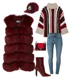 """""""Oxblood Lover"""" by molauren on Polyvore featuring Vetements, Eleven Six, Yves Saint Laurent, Cara Mila, Gucci and Prada"""