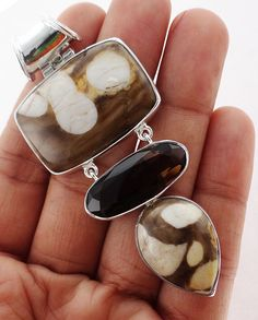 Peanut Wood  Jasper 925 Solid Sterling silver Pendant Jewelry (PNW-5) #Rananjay #HandmadePendant