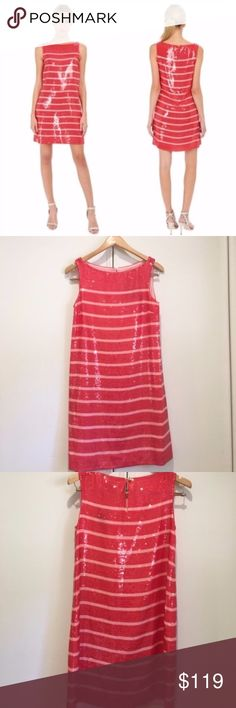 FLASH SALE ⚡️ Kate Spade Pink & Red Sequin Dress Kate Spade Sleeveless Pink Sequin Stripe Cocktail Formal Dress  * Gorgeous party dress. Just add heels! * New with tags, never worn * Open to offers, sorry no trades kate spade Dresses