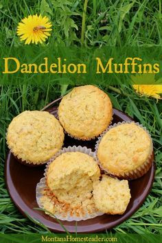 Dandelions are traditionally considered chthonic (Underworldly), so these dandelion muffins could be used as offerings to Underworld deities Good Food, Yummy Food, Tasty, Muffin Recipes, Baking Recipes, Dandelion Recipes, Cupcakes, Cake Cookies, Gourmet