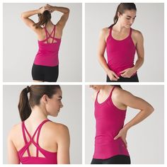Lululemon NWT free flowing tank Brand new and rare! Sold out everywhere. Hot pink color. Size 6. Strappy details and mesh inserts. Price firm. Jeweled magenta color  Light Luon® is a lightweight version of our sweat-wicking, four-way stretch Luon® fabric added LYCRA® fibre moves with you and stays in great shape imported fit + function designed for: yoga, gym fabric(s): Light Luon® fit: tight shelf bra: yes support: this tank is intended to provide medium support for a C/D cup length: hip…