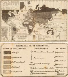 """purpleishboots: """" explore-blog: """" Gorgeous 1821 map of the """"moral and political"""" composition of the world by engraver William C. Woodbridge, a fine addition to this look at cartography as power,..."""