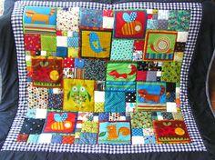 Baby / Krabbeldecke/ Patchworkdecke mit lustige... von Meine bunte Flickenecke auf DaWanda.com