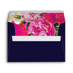 Tropical Floral and Gold Envelope