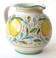Limoni 2 Liter Pitcher by Ceramiche Bartoloni. Perfect for a large flower arrangement or filled with your favorite drink at brunch or dinner. $125 #Italy #ceramics #lemons