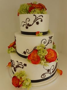 Orange, Green and Brown wedding cake (1074) | Flickr - Photo Sharing!