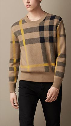Burberry Brit Check Cotton Blend Sweater