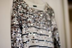 sequinned striped top