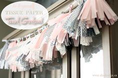 Pink & Grey Tissue Paper Tassel Garland - http://akadesign.ca/pink-grey-tissue-paper-tassel-garland/