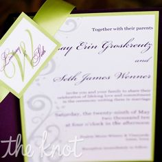 Invitations designed in Word, then printed at a local copy shop and were assembled using purple pocket folds and green cardstock and ribbon