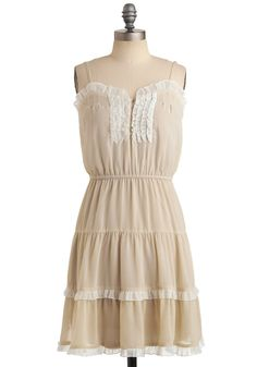 Merry in Marin Dress - Tan, White, Ruffles, Tiered, Trim, Casual, A-line, Spaghetti Straps, Spring, Summer, Mid-length, Top Rated