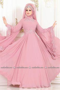 Kolları Pelerinli Abiye ALM52729 Pudra - Moda Selvim Muslim Wedding Gown, Wedding Dress Suit, Muslim Wedding Dresses, Pakistani Wedding Outfits, Pakistani Bridal Dresses, Wedding Party Dresses, Bridal Hijab, Wedding Dressses, Designer Party Wear Dresses
