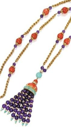 18 Karat Gold, Coral, Amethyst, Turquoise and Diamond Necklace, VAN CLEEF & ARPELS, France. The Gold ropetwist chain spaced at intervals with eight Coral beads flanked by smaller Amethyst beads, supporting a tassel composed of Coral, Turquoise and Amethyst, set throughout with round Diamonds weighing approximately 11.25 carats, length 35 inches, signed V.C.A., numbered N.Y. 41153; circa 1970. •LOT SOLD. 168,750 USD (157,069 EUR)