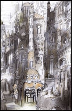 """man-arenas: """" Zootopia Visual Development . one last piece I did for Downtown Zootopia. Probably my favorite. I kept going with my idea of a city with an organic evolution in carving and building thru..."""