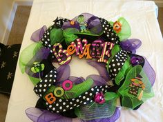 A Halloween wreath I just made. These are so easy.