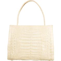 Pre-owned Nancy Gonzalez Crocodile Tote ($1,095) ❤ liked on Polyvore featuring bags, handbags, tote bags, neutrals, croc purse, shoulder strap purses, zipper purse, crocodile purse ve white tote bag