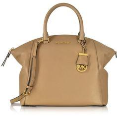 Michael Kors Handbags Riley Dark Khaki Leather Large Satchel Bag ($465) ❤ liked on Polyvore featuring bags, handbags, satchel purse, real leather handbags, michael kors purses, beige leather handbag and beige handbags