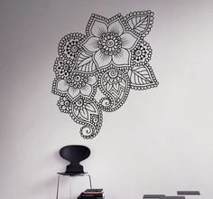 Abstract Flowers Mehndi Wall Vinyl Decal Henna by USAmadeproducts