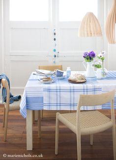 DIY tea towel tablecloth.