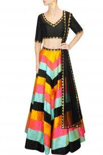 Priyal Prakash Black, yellow, pink and mint zig zag lines sequins lehenga set
