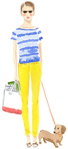 {yellow skinnies + stripes + a doxie} watercolour by Caitlin McGauley