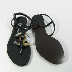 {Chanel Logo Sandals}