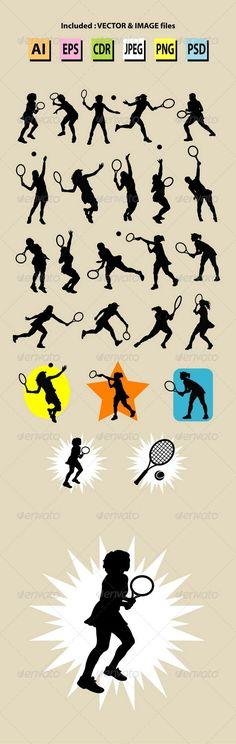 Nice, smooth, and editable vector, girl playing tennis sport activity silhouettes. Good use for your symbol, logo, icon, mascot, w