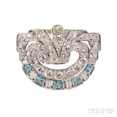 Art Deco Platinum, Diamond, and Aquamarine Brooch.   Lot 386   Auction 2993B   Estimate $1,000-1,500
