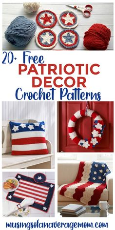 More than 20 Free Patriotic/Fourth of July home Décor Crochet Patterns including wreaths, placemats, pillows, blankets and more! Holiday Activities, Holiday Crafts, Fourth Of July, 4th Of July Wreath, Best Blogs, Patriotic Decorations, Free Crochet, Free Printables, Blankets