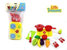 Little Treasures Fruits and Vegies Chef Toy Set with Duel Burner Range Cooker, Frying Pan and Pot as well as Toy Vegetables and Utensils >>> Visit the image link more details.