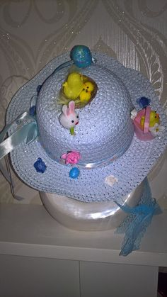 decorated easter bonnet hat with lace ribbon ties in baby blue! by PetitechicboutiqueGB on Etsy