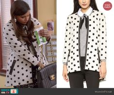 Mindy's polka dot coat on The Mindy Project.  Outfit Details: http://wornontv.net/45578/ #TheMindyProject