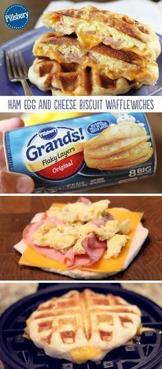 Ham, Egg, and Cheese Biscuit Wafflewiches are a fun and easy breakfast that's full of flavor! It's the recipe you make when you want to mix things up a bit. This easy hearty recipe is your perfect breakfast. Healthy Sweet Snacks, Easy Snacks, Healthy Food, Healthy Breakfasts, Easy Meals, Waffle Maker Recipes, Egg Waffle Recipe, Sandwich Maker Recipes, Sandwich Ideas
