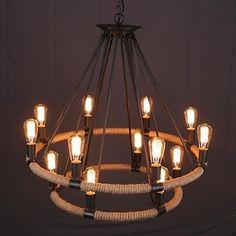 Amercian countryside vintage loft for handmake hemp rope chandelier lamp in the retro style – AUD $ 760.75