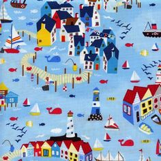 By the Yard Up to Cotton Quilting Craft Fabrics Timeless Treasures Fabric, Nautical, Kids Rugs, Quilts, Sewing, Cotton, Crafts, Blue, Ebay