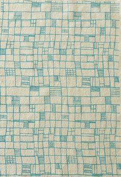 "Geometric turquoise screenprinted fabric by summersville on Etsy -- ""Fences"""