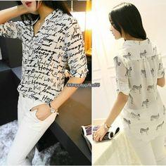 Fashion Women printing short sleeve Shirt Chiffon tops blouse casual OL shirt US | eBay