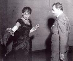 """Maria Callas and Luchino Visconti. Rehearsal of """"La Traviata"""" at La Scala di Milano (1955)"""