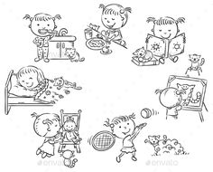 daily work routine: Cartoon man daily activities set