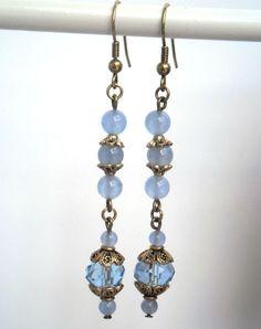 Boho romantic long earrings light blue hand made by kalaniparis