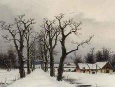 Winter landscape with avenue of trees by NILS H CHRISTIANSEN