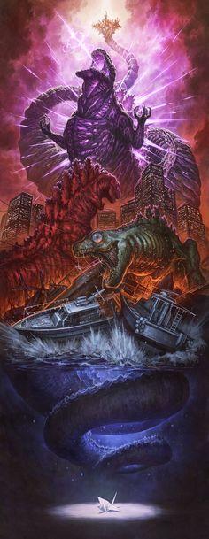 "Easily the best of the ""Ohrai-like"" Shin Godzilla fan art posters King Kong, Monster Uni, Godzilla Wallpaper, Wallpaper Art, Japanese Superheroes, Strange Beasts, Les Oeuvres, Concept Art, Cool Art"