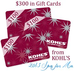 Enter to Win $300 in Kohl's Gift Cards!! Kohl's Gift Card Giveaway (3rd Annual Spa for Ma Giveaway Hop) Ends Sept.17!! http://homemakinghacks.com/2013/09/300-kohls-gift-card-giveaway-3rd-annual-spa-for-ma-giveaway-hop.html