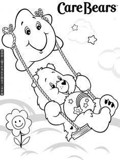 care bears swinging on star coloring printable page - Care Bears Coloring Pages