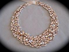 Rewelacja! Chunky Swarovski Crystal Bridal Statement Necklace -  bib necklace. $300.00, via Etsy. #slub #wesele #sklepslubny